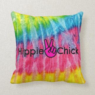 Almofada Tintura do laço da paz do pintinho do Hippie