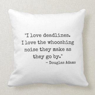 Almofada Tipografia das citações de Douglas Adams dos fins