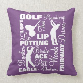 Almofada Tipografia temático da terminologia do golfe dos