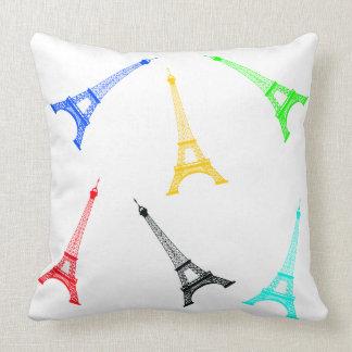 Almofada Torre Eiffel de Silhoutte do vetor