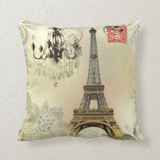 Almofada torre Eiffel floral de Paris do vintage do laço do