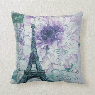 Almofada torre Eiffel floral roxa de Paris do vintage
