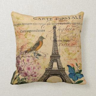Almofada Torre Eiffel francesa floral de Paris do pássaro