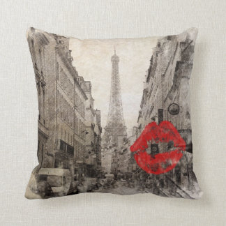 Almofada Torre Eiffel vermelha de Paris do chique do beijo