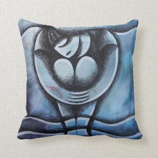 Almofada Tortas mojados, fondo Azul do sobre do chica
