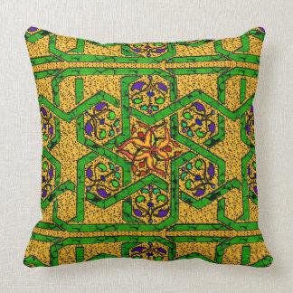 Almofada Trabalho do nó do verde e do ouro de jade