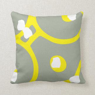 Almofada Travesseiro abstrato amarelo branco e do cinza do
