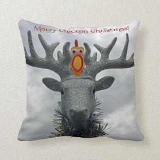 Almofada Travesseiro alegre engraçado do Natal da galinha!
