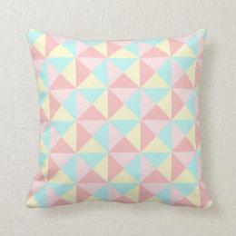 Almofada Travesseiro amarelo azul geométrico do rosa Pastel