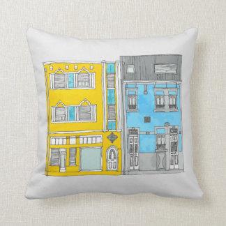 Almofada Travesseiro amarelo e do azul das casas da
