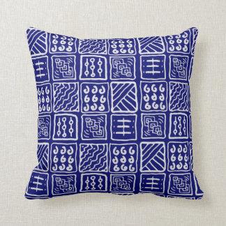 Almofada Travesseiro azul abstrato do Batik