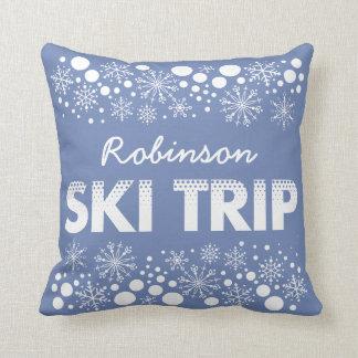 Almofada Travesseiro azul da viagem do esqui do floco de
