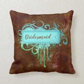 Almofada Travesseiro azul do cobre do vintage de Brown do