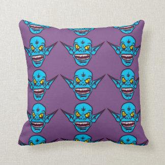 Almofada travesseiro azul do demónio do troll do zombi