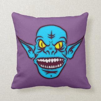 Almofada Travesseiro azul do demónio do troll do zombi do