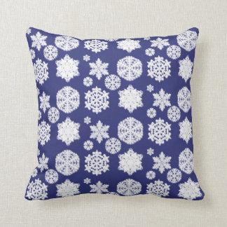 Almofada Travesseiro azul do floco de neve