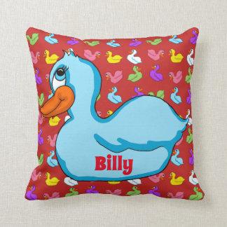 Almofada Travesseiro azul do quadrado do pato
