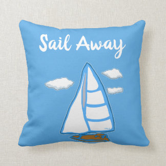 Almofada Travesseiro azul do veleiro ausente da vela