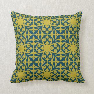 Almofada Travesseiro azul e amarelo do teste padrão