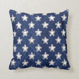 Almofada Travesseiro azul e de prata das estrelas