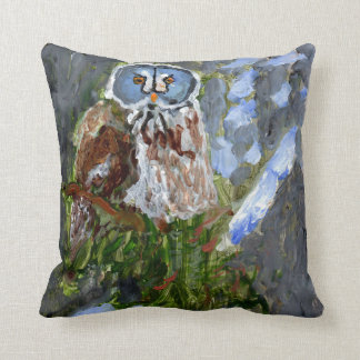 Almofada Travesseiro azul-enfrentado irritadiço da coruja