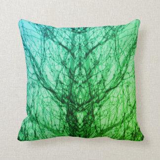 Almofada Travesseiro azul verde abstrato da arte moderna da