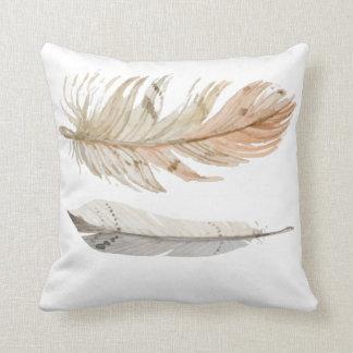 Almofada Travesseiro boémio das penas da cor natural
