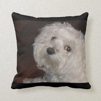 Almofada Travesseiro-Casa maltesa da afeição - preto/branco