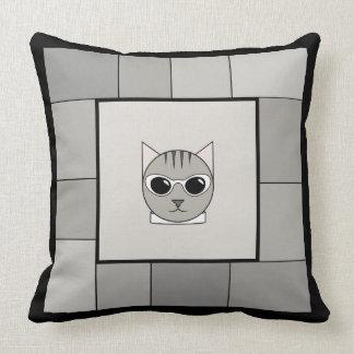 Almofada Travesseiro cinzento na moda do quadrado do gato