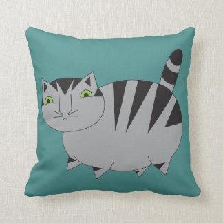 Almofada Travesseiro cinzento roxo do gato malhado da
