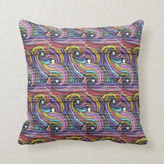 Almofada Travesseiro colorido do teste padrão de ondas