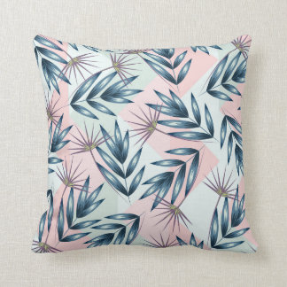 Almofada Travesseiro com teste padrão azul das folhas de