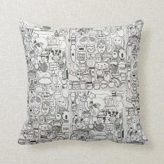 Almofada Travesseiro cómico preto e branco