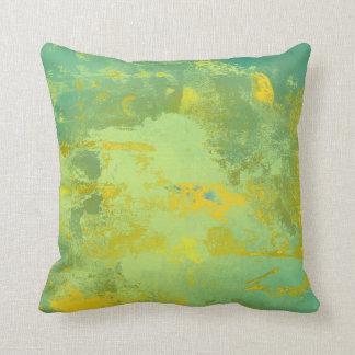 Almofada Travesseiro contemporâneo abstrato verde e amarelo