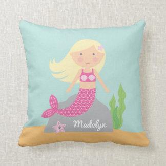Almofada Travesseiro cor-de-rosa da sereia e da estrela do