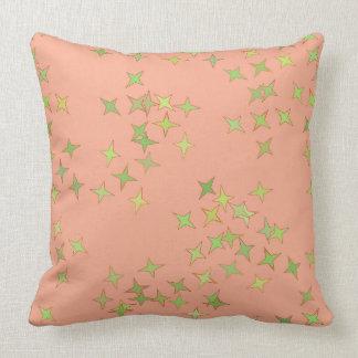 Almofada Travesseiro cor-de-rosa e verde das estrelas