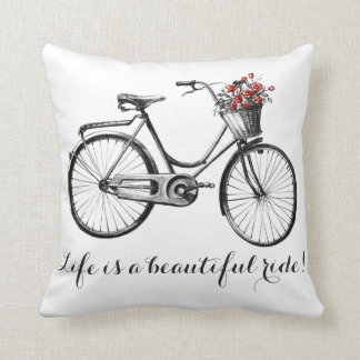 Almofada Travesseiro da bicicleta do vintage - a vida é