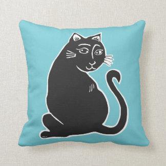 Almofada Travesseiro da cerceta da arte do gato preto