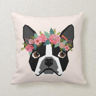 Almofada Travesseiro da coroa da flor de Boston Terrier