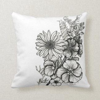 Almofada travesseiro da flor da arte do dotwork