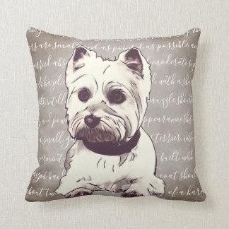 Almofada Travesseiro da ilustração de Terrier branco de