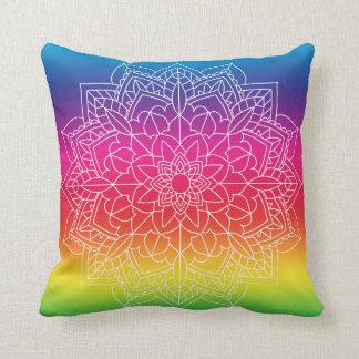 Almofada Travesseiro da mandala do arco-íris