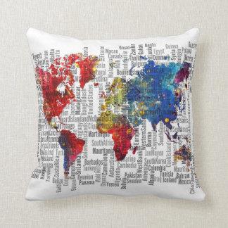 Almofada Travesseiro das cores do mapa do mundo
