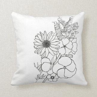 Almofada Travesseiro das flores do esboço