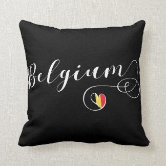 Almofada Travesseiro de Bélgica do coração, bandeira belga
