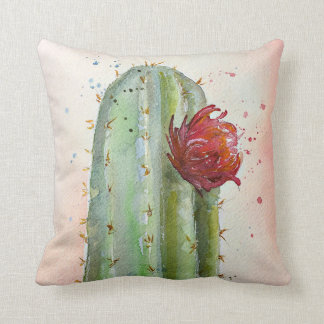 Almofada Travesseiro de florescência do cacto da aguarela