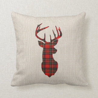 Almofada Travesseiro de linho do Natal dos cervos da xadrez
