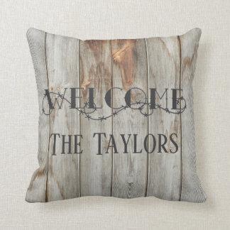 Almofada Travesseiro de madeira bem-vindo