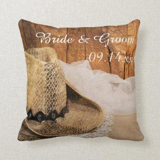 Almofada Travesseiro de madeira do chapéu de vaqueiro e do