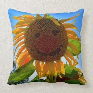 Almofada Travesseiro de sorriso do girassol